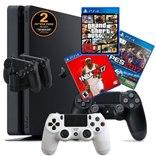 PS4 SLIM+משחק+2שלטים+מטען שלטים+מעמד+יבואן
