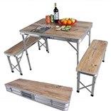 שולחן פיקניק מתקפל למזוודה + 2 ספסלים
