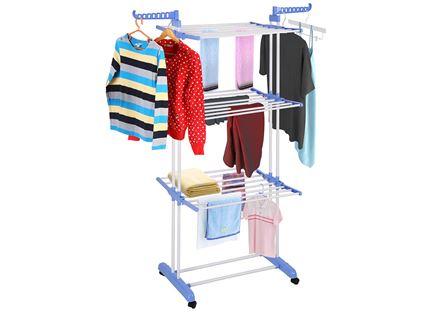 מתלה מתקפל וחסכוני במקום, לייבוש הכביסה ולתליית הבגדים. יציב, רב מדפים וזרועות ועשוי מתכת חזקה!