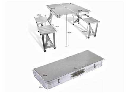 שולחן קמפניג+ 4 כסאות מתקפלים וחזקים. נכנס לכל רכב וקל משקל!