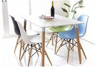פינת אוכל מעץ + 4 כסאות בעיצוב מודרני