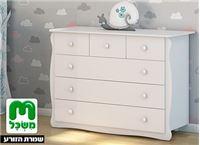שידה לחדר תינוקות משכל, דגם 'וניל' עם פינות מעוגלות ו-6 מגירות עמוקות