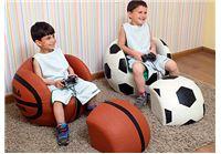 ספה לילדים + הדום - כדורסל כתום