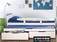"""מיטת ילדים דגם """"לוטוס"""" מבית שמרת הזורע הכוללת מיטת חבר נשלפת, 2 מגירות, 2 מזרני ספוג כחול אורטופדים ומעקה בטיחות"""