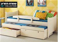 """מיטת ילדים עץ דגם """"הרמוניה"""" מבית שמרת הזורע הכוללת מיטת חבר נשלפת, 2 מגירות, 2 מזרנים אורטופדים ומעקה בטיחות"""