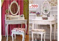 שידת איפור טואלט מעץ אורן משולב בעיצוב וינטג' עם מראה וכסא מרופד במתנה
