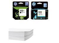 חבילת נייר ומארז דיו שחור וצבעוני מקורי HP 122XL 122
