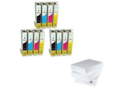 מארז של שלוש חבילות נייר ושלושה סטים של דיו תואם Epson T129x