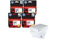 שלוש חבילות נייר וסט דיו מקורי HP 655