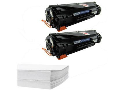 חבילת נייר וזוג טונרים תואמים HP 85A CE285A