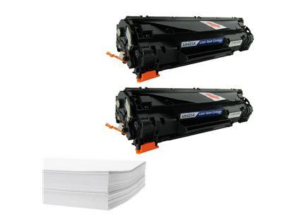 חבילת נייר וזוג טונרים תואמים HP 35A CB435A