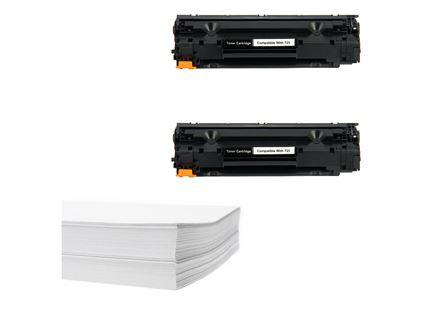 חבילת נייר וזוג טונרים תואמים Canon CRG725