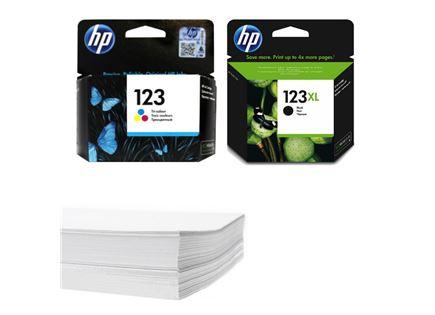 חבילת נייר וזוג ראשי דיו מקורי HP 123 123XL