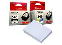 חבילת נייר וזוג ראשי דיו מקורי Canon pg545xl cl546xl