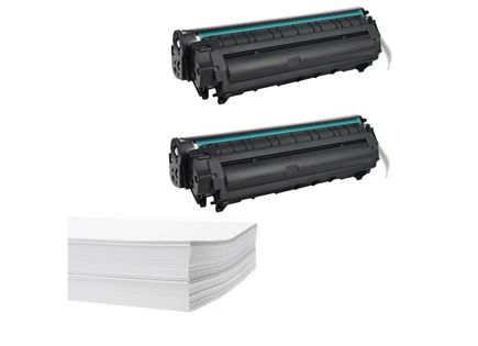חבילת נייר וזוג טונרים תואמים HP 12A Q2612A