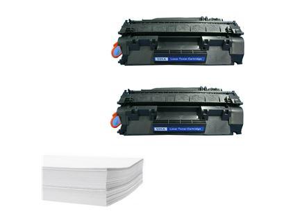 חבילת נייר וזוג טונרים תואמים HP ce505a 05a