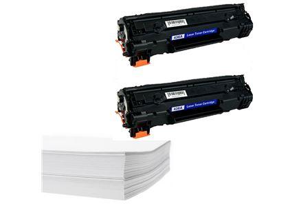 חבילת נייר וזוג טונרים תואמים HP 36A CB436A