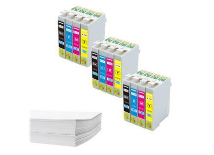 חבילת נייר ושלושה סטים דיו תואם Epson T073x