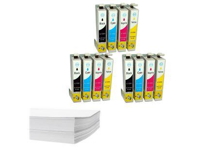 חבילת נייר ושלושה סטים דיו תואם Epson t129x