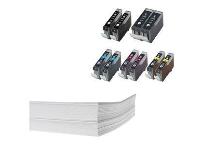 חבילת נייר ושני מארזי דיו תואם Canon pgi5 cli8