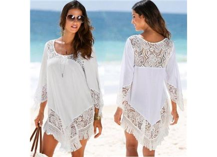 שמלת חוף קצרה בשילוב תחרה