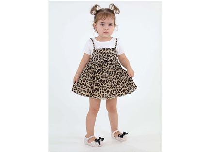 שמלה בהדפס מנומר גולדי לבנה ילדים סטייל ריבר