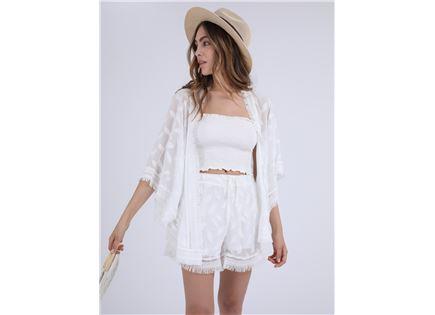 חליפה לבנה צ'רלי - עליונית סטייל ריבר