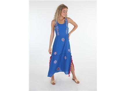 שמלה מקסי כחולה פפה ג'ינס לנשים - PEPE JEANS CATERINA
