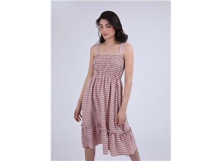 שמלה משובצת אדריאן אדום סטייל ריבר