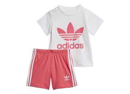 סט לבוש אדידס ורוד לתינוקות - ADIDAS TREFOIL SHORTS TEE SET