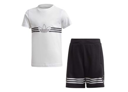 סט לבוש אדידס שחור לבן לילדים - ADIDAS OUTLINE TEE SET