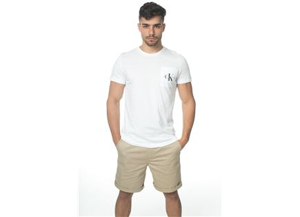 CK גברים // טי - שרט לוגו כיס לבנה