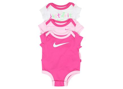 סט בגד גוף נייקי ורוד לתינוקות - NIKE 3PC BODYSUIT SET PINK