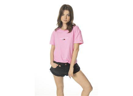 TOMMY HILFIGER נשים // חולצה קצרה לוגו ורוד