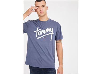 חולצה טומי הילפיגר כחולה לגברים -  TOMMY HILFIGER JEANS TJM HANDWRITING TEE