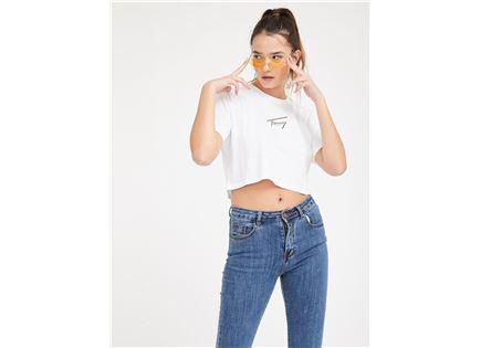חולצה טומי הילפיגר לבנה לנשים -  TOMMY HILFIGER TJW SUMMER RETRO TEE