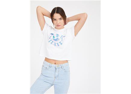 חולצה טומי הילפיגר לבנה לנשים - TOMMY HILFIGER SUMMER CIRCLE LOGO TEE