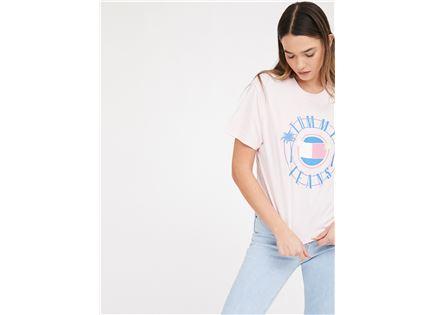 חולצה טומי הילפיגר ורודה לנשים -  TOMMY HILFIGER TJW SUMMER CIRCLE LOGO TEE