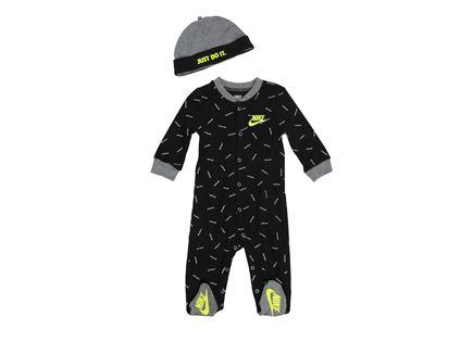 אוברול נייקי שחור לתינוקות - NIKE JUST DO IT TOSS FOOTED COVERALL AND HAT