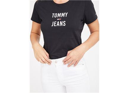 חולצה טומי הילפיגר שחורה לנשים - TOMMY HILFIGER LOGO BLACK TEE