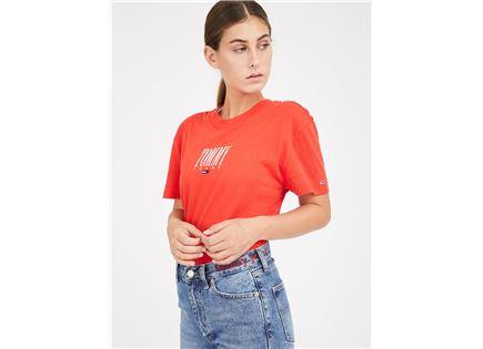 חולצה טומי הילפיגר כתומה לנשים - TOMMY HILFIGER EMBROIDERY GRAPHIC TEE