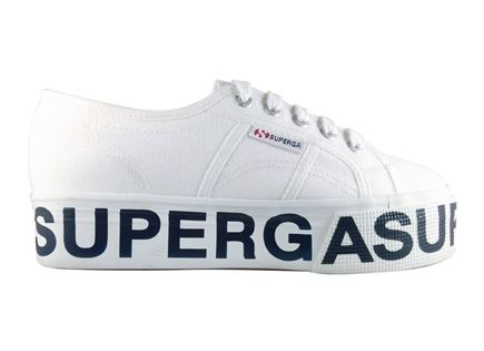 SUPERGA נשים // COTW OUTSOLE LETTERING WHITE