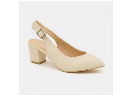 Seventy Nine - נעלי עקב בצבע שמנת עם לול